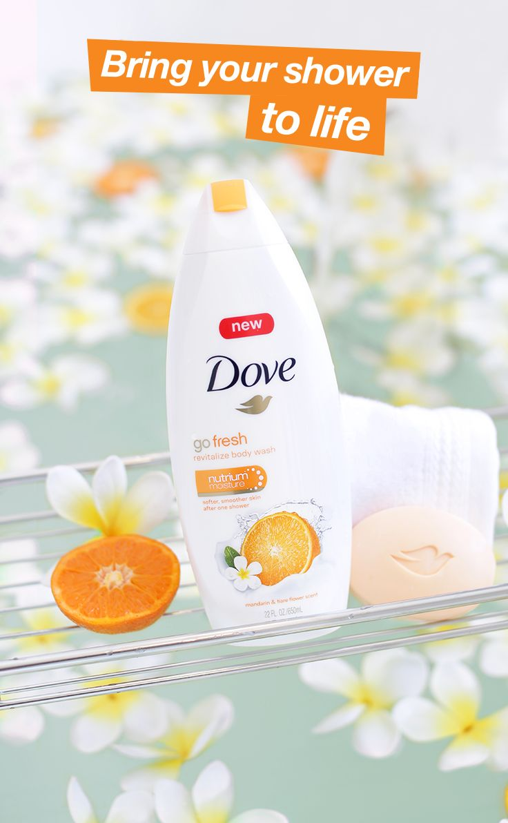 NEW Dove go fresh Revitalize Beauty Bar and Body Wash with mandarin and tiare flower scent, provide an energetic awakening for your mind and skin. This vibrant and juicy scent leaves you and your skin feeling refreshed and nourished and it starts with one easy step—your morning shower.