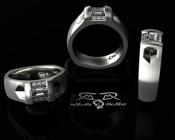 Mangagement ring with a tasteful emerald cut diamond and gothic shank. Solid palladium mens gents wedding band ring with ideal cut diamonds!