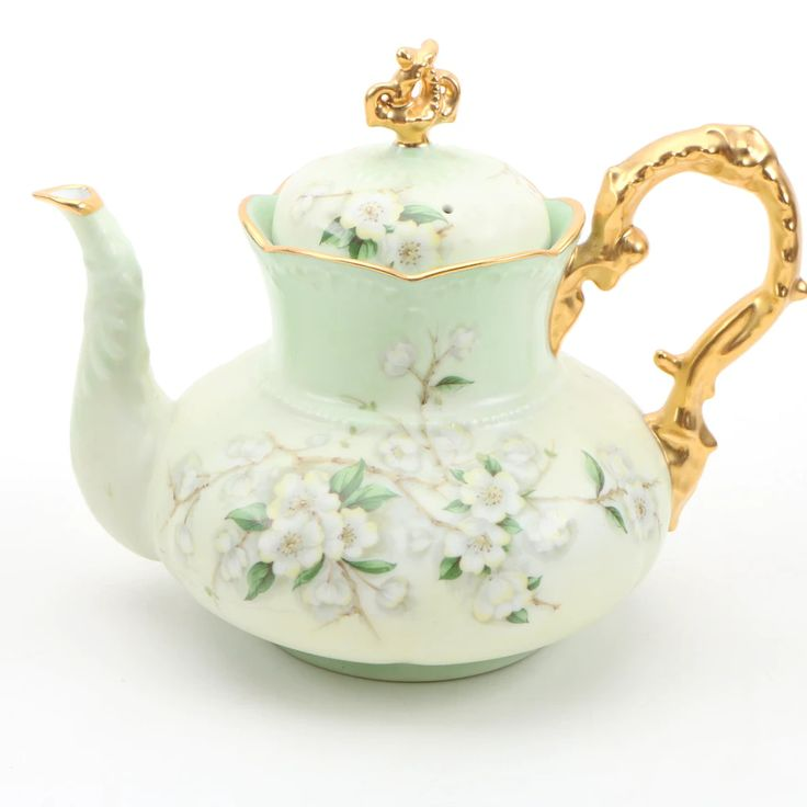 Porcelain Teapot Decorated w/ White Dogwood Blossoms