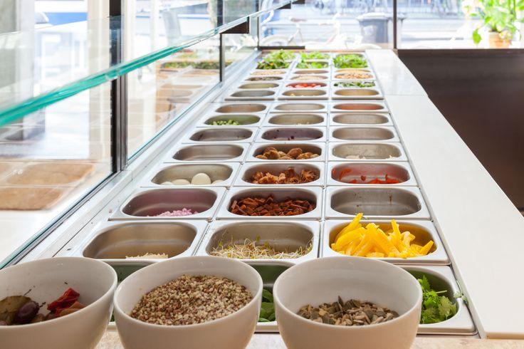 Sla, veggies, shop, salad bar, interior architecture, carrot, salade, greenhouse, the nice makers, health, food, recipe, green, magazine, plants. Photo by Table to Desk, www.tabletodesk.nl, www.ilovesla.com