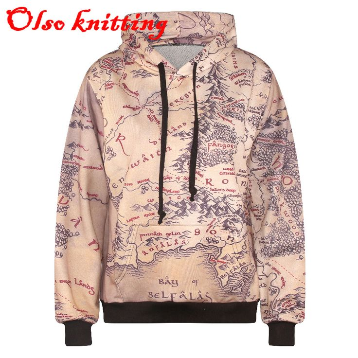 2016 hoodie middle earth map 3D print casual hoodies women's long sleeve sweatshirts high quality with cap autumn winter style
