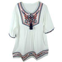 Бесплатная доставка цветы этническая хлопок блузка старинные блузка вышитые крестьянская блузка девушки белая блузка цыганский кисточкой бохо bluse(China (Mainland))