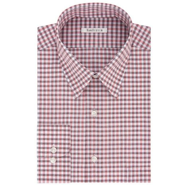 Van Heusen  Regular Fit Dress Shirt ($27) ❤ liked on Polyvore featuring men's fashion, men's clothing, men's shirts, men's dress shirts, poppy, van heusen mens dress shirts, men's non iron dress shirts, men's wrinkle free dress shirts, men's non iron shirts and van heusen mens shirts