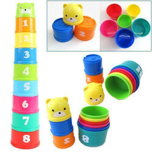 1 set, Mainan bayi, Lucu kecil belajar pendidikan Jenga cangkir mainan blok permainan untuk anak-anak, Juguetes Educativos mainan
