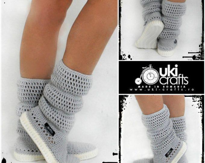 Botas al aire libre Crochet Crochet Botas Zapatos de punto adultos para hippie de la calle Folk tribal Boho s Made to Order puños patrón de