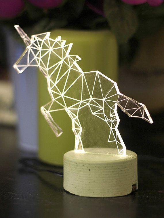 Unicorn lamp, decorative table lamp, unicorn night light, woodland decorative lamp on Etsy, $55.00