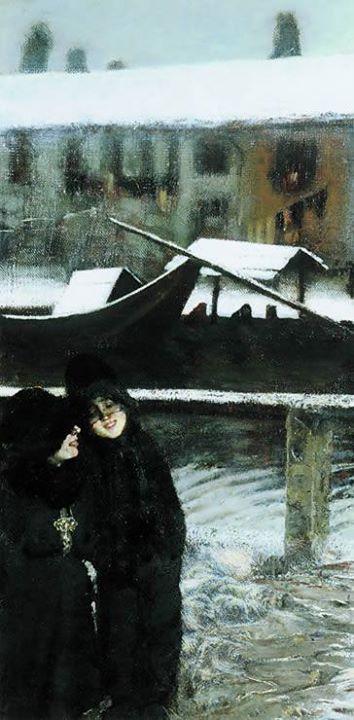 Giovanni Segantini - Nevicata sul Naviglio (1880)