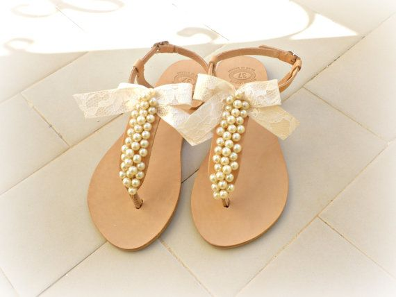 Bridal sandals Wedding leather sandals decorated by dadahandmade