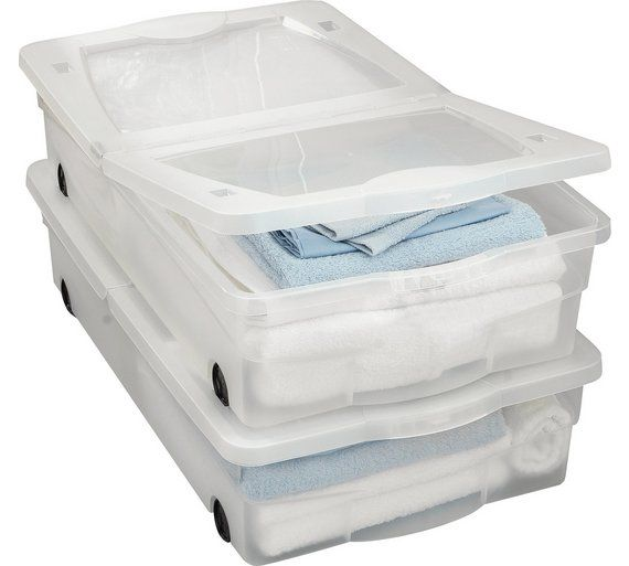 Buy HOME 50 Litre 2 Wheeled Plastic Underbed Storage with Lids at Argos.co.uk, visit Argos.co.uk to shop online for Plastic storage boxes and units, Storage, Home and garden