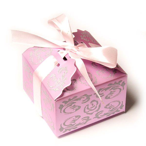 Krabička na darček, glitrová, 9x9x5.5cm