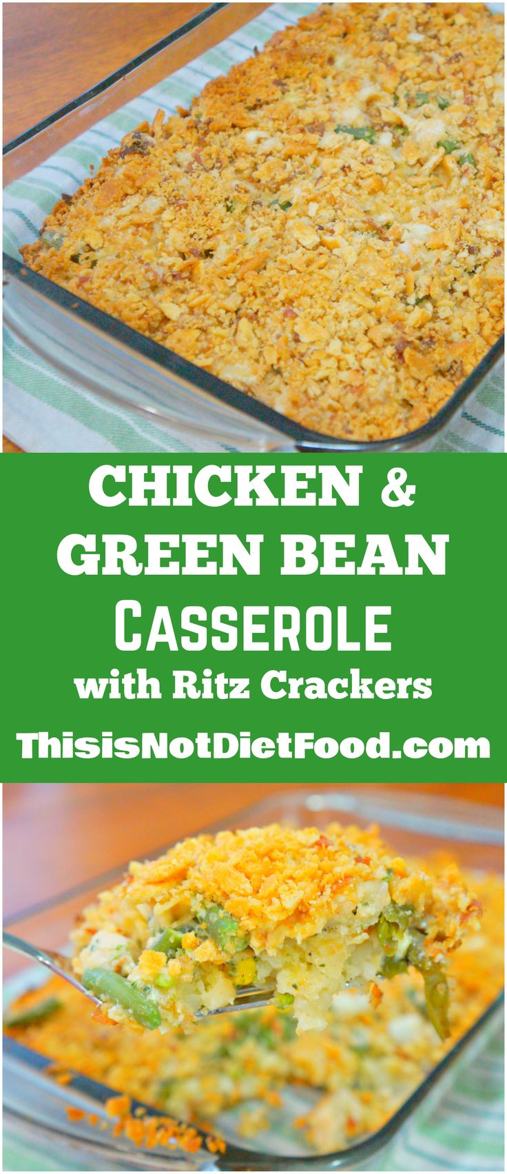 Chicken & Green Bean Casserole topped with Ritz Crackers.