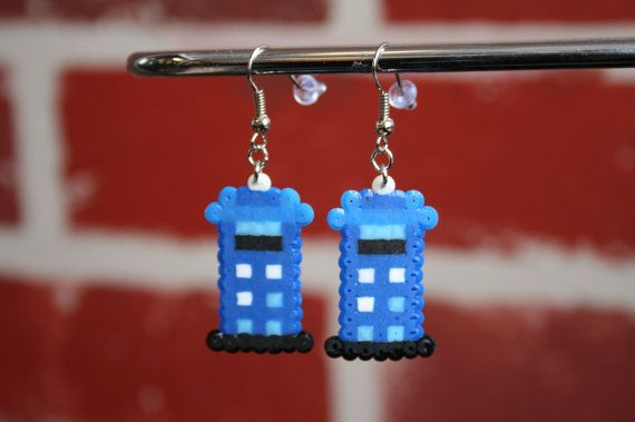 Doctor Who Tardis Perler Bead Sprite: Keychain, Necklace, Earrings, Magnet on Etsy, $2.50