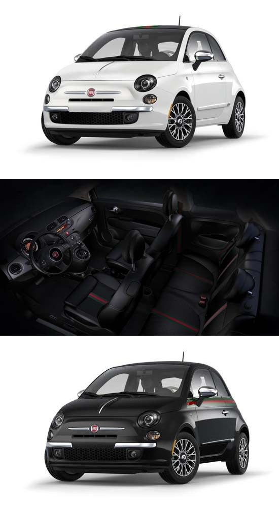 9f0ed4368 Fiat 500 and 500C Gucci features a Nero or Bianco exterior with chrome  accents