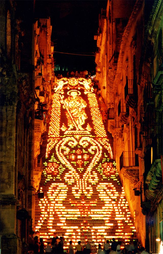 ~An Historic Staircase in Caltagirone, Sicily Used as a Backdrop for Light and Flower Festivals, Sicily multiples installation flowers~