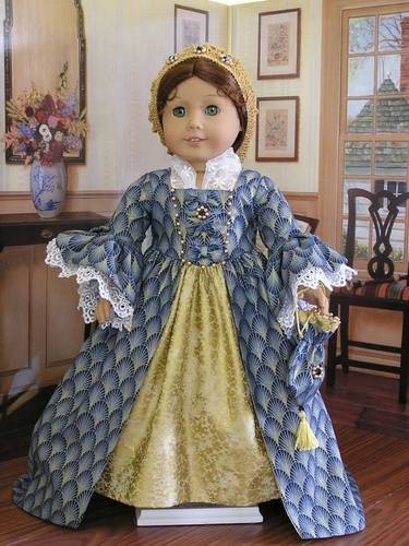 """1700's Early 1800's Historical Dress Gown for 18"""" American Girl Doll 