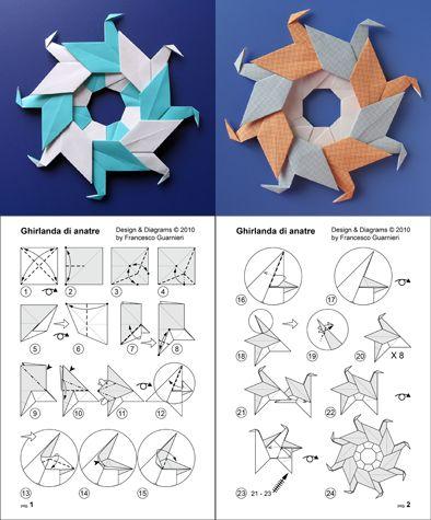 Modular origami, diagrams: Ghirlanda di anatre - Garland of ducks © by Francesco Guarnieri