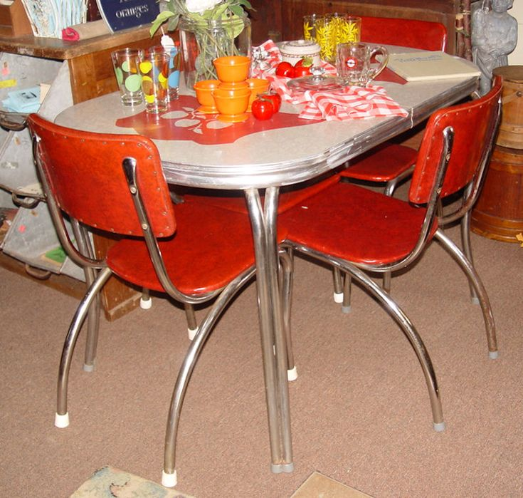 Chrome dinette table and 4 chair set graphic red apples for 1930 kitchen table