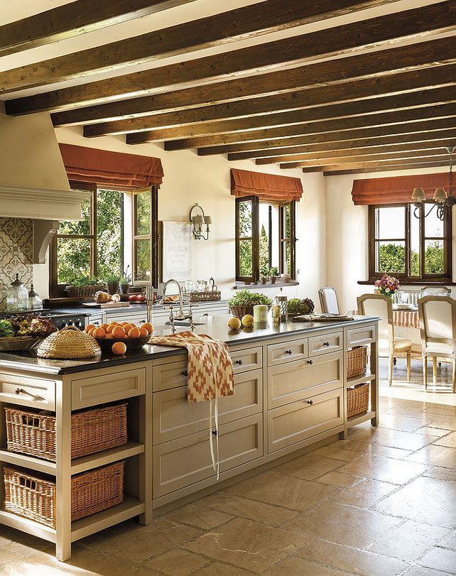 open shelving on one end, counter seating at opposite end; Spanish villa kitchen