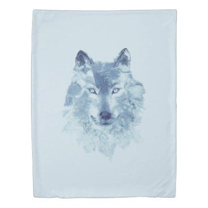 Blue Watercolor Wolf (1 side) Twin Duvet Cover - portrait gifts cyo diy personalize custom