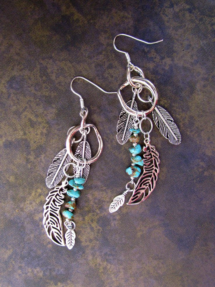 Hoop and Feather Earrings... Silver Turquoise Western Native American. $38.00, via Etsy.