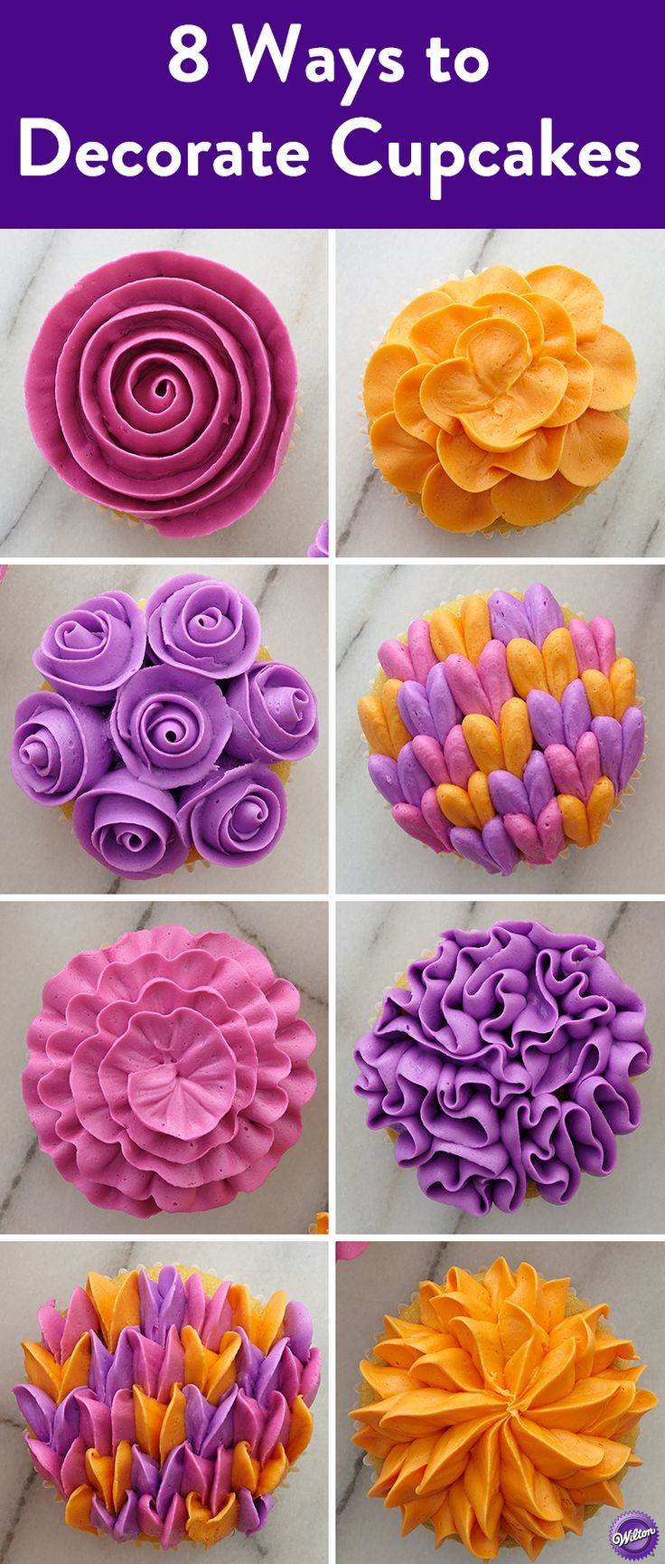 8 Ways to Decorate Cupcakes with Wilton Tip 104 - Let us count the ways we love icing tip 104. Try all 8 of easy cupcake decorating technique—each done using just one petal tip. Keep petal tip no. 104 handy to try all of these impressive flower cupcakes, like the ribbon rose and ruffled flower design and more. Cake decorating ideas www.wilton.com/home