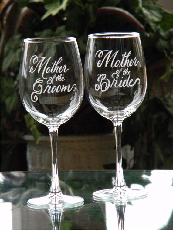 Mother of the Bride and Groom Wine Glasses by glassgirljen on Etsy, $38.00