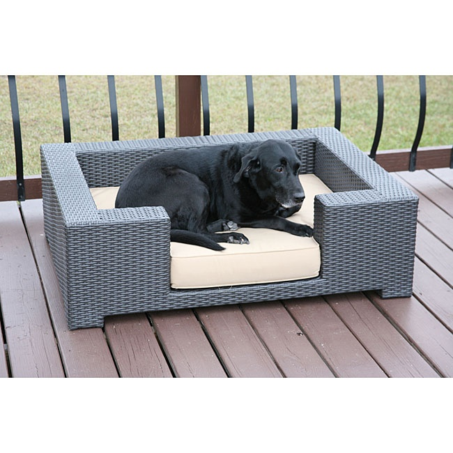 Outdoor Wicker Dog Bed In Blue
