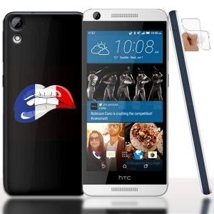 Coque gel HTC Desire 626 French Kiss - Lips Drapeau Français