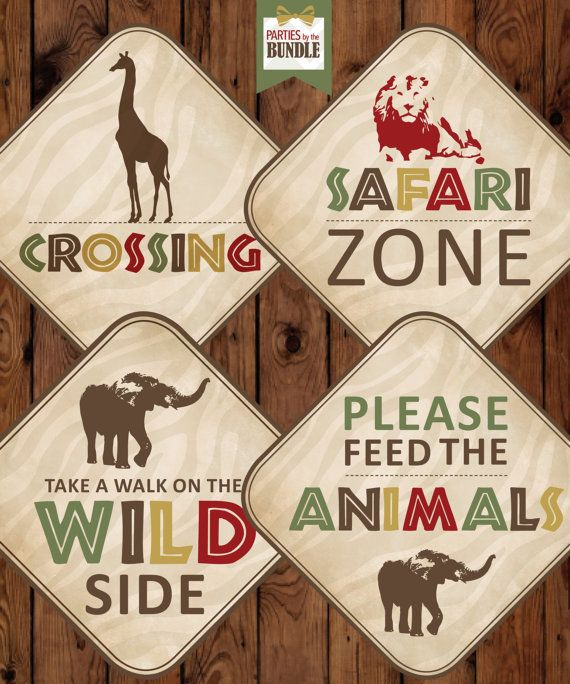 Safari Birthday Party Signs Safari Birthday by PartiesbytheBundle
