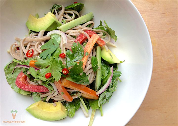 #Vegan and #glutenfree soba salad with sesame ginger dressing. The ultimate health conscious meal with delicious, nutty flavor of the soba noodles. Soba noodles, leafy greens, hot peppers, tahini, tamari shoyu, apple cider vinegar, ginger, lemon juice, sesame oil, sesame seeds, mirin, garlic. Visit our blog for the full recipe!