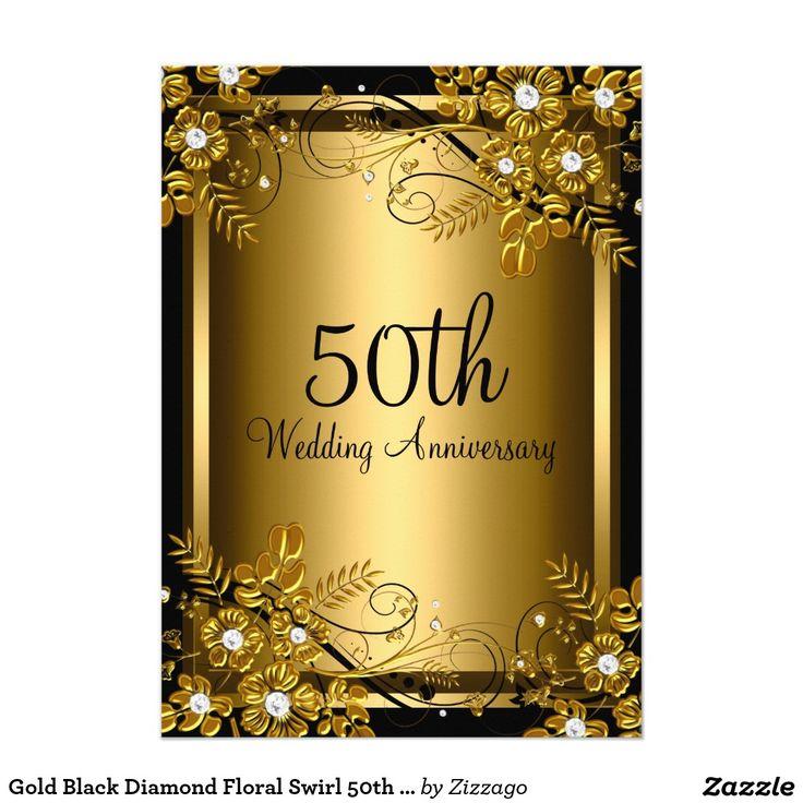 Gold Black Diamond Floral Swirl 50th Anniversary 5x7 Paper Invitation Card