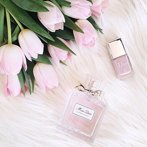 Pretty pink tulips, nail polish and Miss Dior perfume