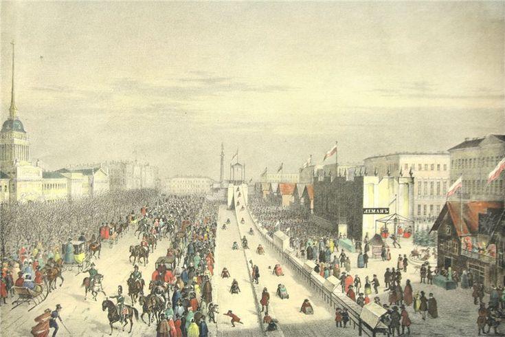 Ледяные горы на адмиралтейской площади во время Масленицы. Литография, 19 век. Из серии, изданной Фельтеном в 1830-50-е