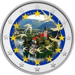 2 Ευρώ, Έγχρωμο, Σλοβενία, 10η επέτειος από την εισαγωγή του ευρώ στη Σλοβενία, 2017