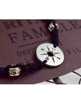 Ανδρικό Βραχιόλι Black Macrame & Compass