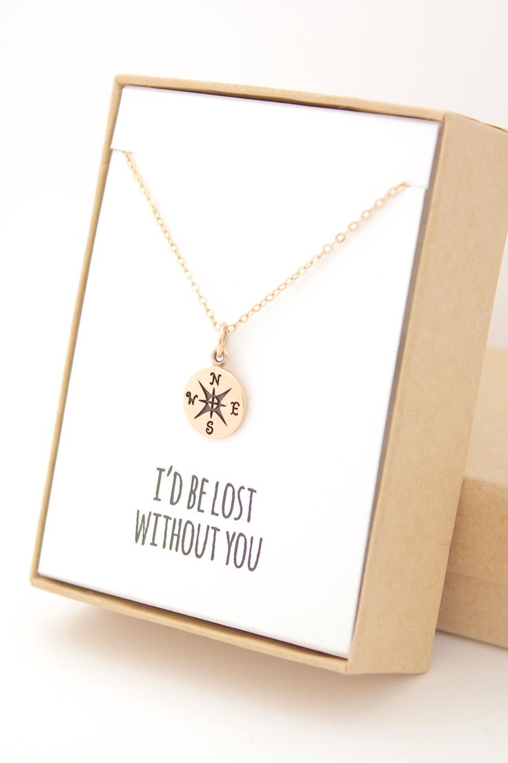 Gold Compass Necklace - I'd be lost without you - Mother of the Bride - Graduation - Love - Gift Gifts - Travel Jewelry - Follow your arrow by powderandjade on Etsy https://www.etsy.com/listing/230650789/gold-compass-necklace-id-be-lost-without