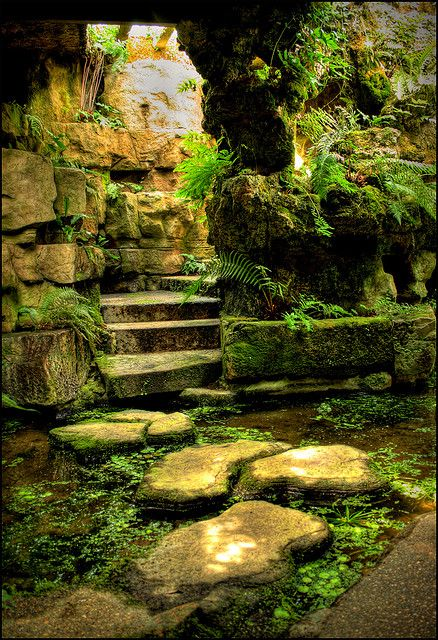 mossy grotto, Hidden Gardens and Grottoes of Dewstow (3) by -terry-, via Flickr