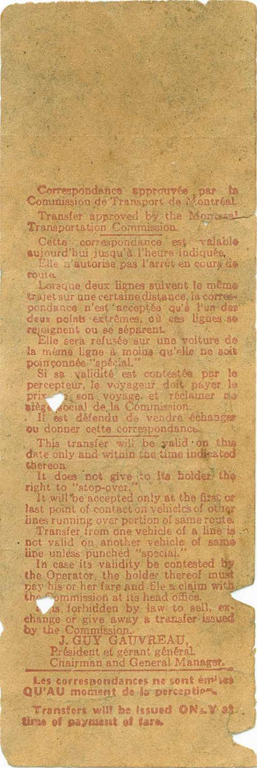 Back of transfer from Montreal (Quebec, Canada) Transportation Commission (early 1950s)