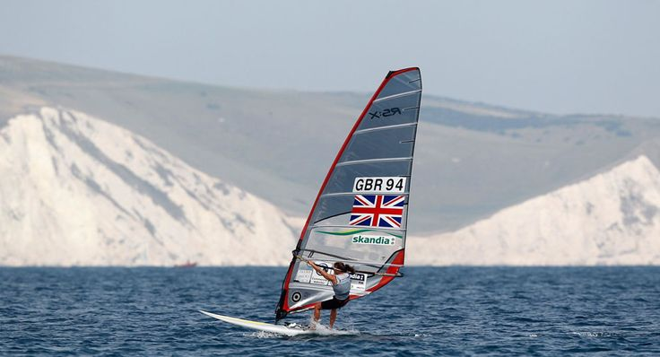 Britain's Bryony Shaw competes in the RS:X Women's Windsurfer class during the Weymouth and Portland International Regatta at the Weymouth and Portland National Sailing Academy in southern England, on August 5, 2011. This event is one of the London Organizing Committee of the Olympic Games' test events for the London 2012 Olympic Games.