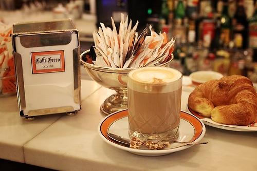 Italy - Rome, Caffè Greco, my favorite cafe in Rome. Via Condotti, 86. caffe latte