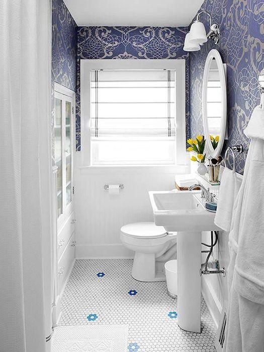 Blue And White Bathroom Bhg Love Wainscoting Tile Floors