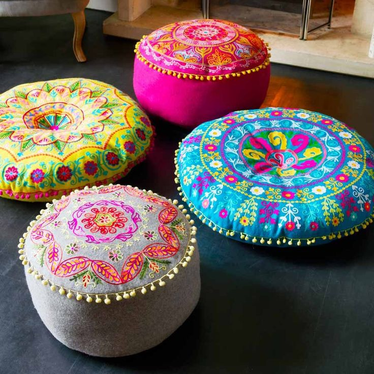 Beautifully embroidered with autumnal colours; these felt gypsy pouffes and floor cushions are the best way to put your feet up and relax this season.