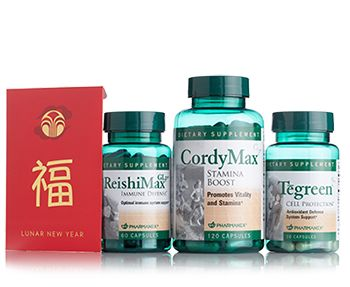 Contents: ReishiMax Tegreen CordyMax Red Envelope & Card