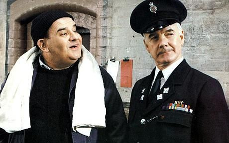 Ronnie Barker and Fulton Mackay in TV show Porridge