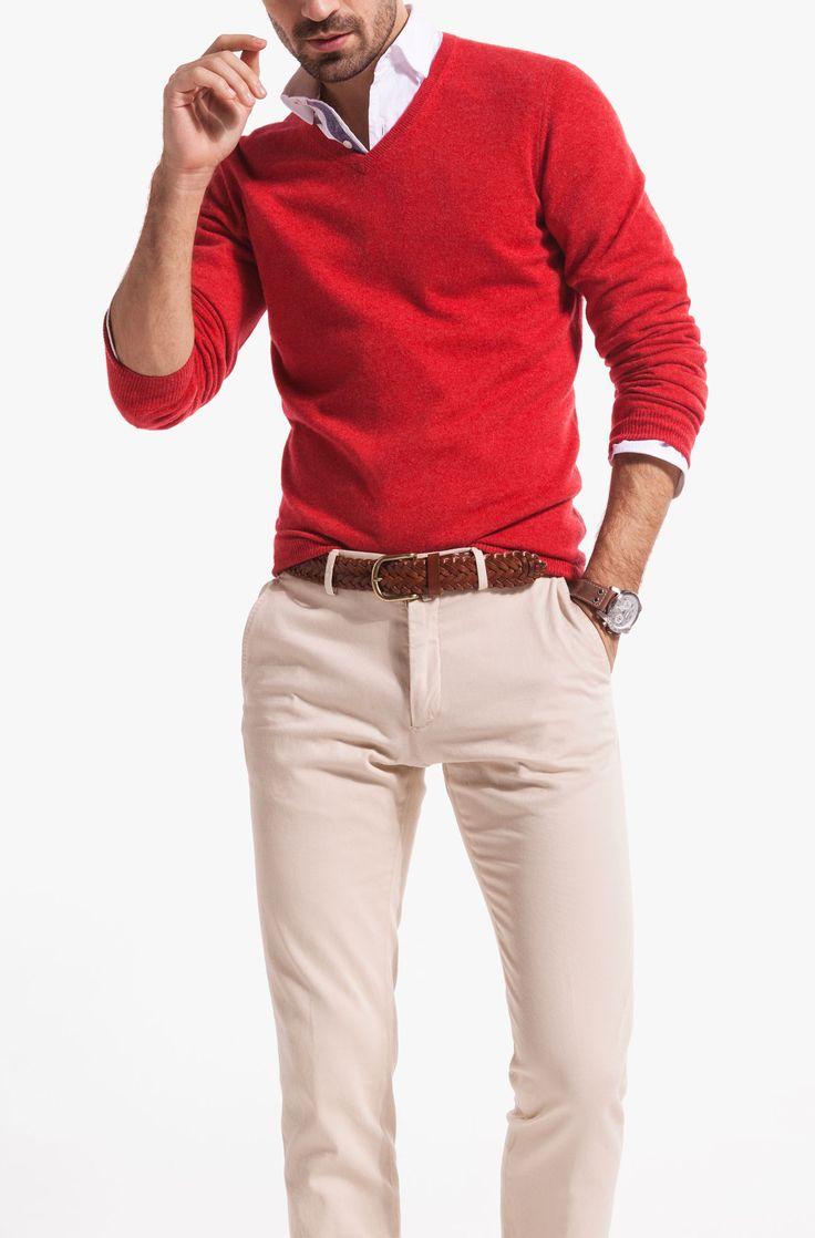 Red V Neck Jumper . White Shirt . Brown Belt . Brown Watch . Ivory / Light Beige Chinos
