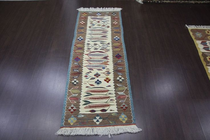 "Kilim Rug Turkish Handmade Super Fine Usak Oushak Runner Rug 23.6""x66.9"" (178) #Turkish"
