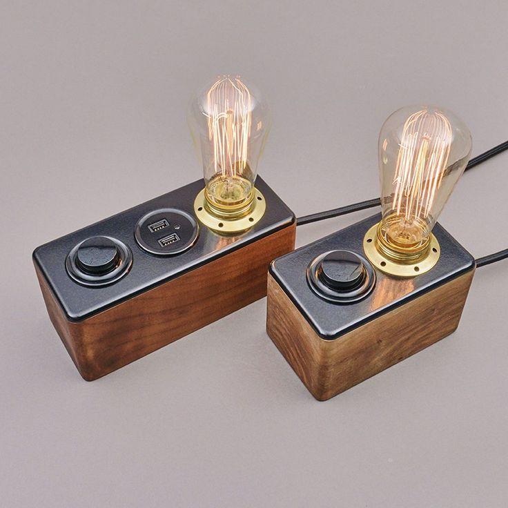 Fundament-Lampe Atelier- und Nachttischlampe mit Sockel aus Schweizer Nussbaumholz, Abdeckung aus Duroplast und einer spezial-geprägten Messingfassung Standard: 750 Gramm / Mit USB Stecker: 1000 Gramm Standard: 11x15x9 / Mit USB Stecker: 11x21x9 cm ohne Glühbirne  Glühbirne: Durchmesser 6.5, Höhe 12 cm 18 CHF