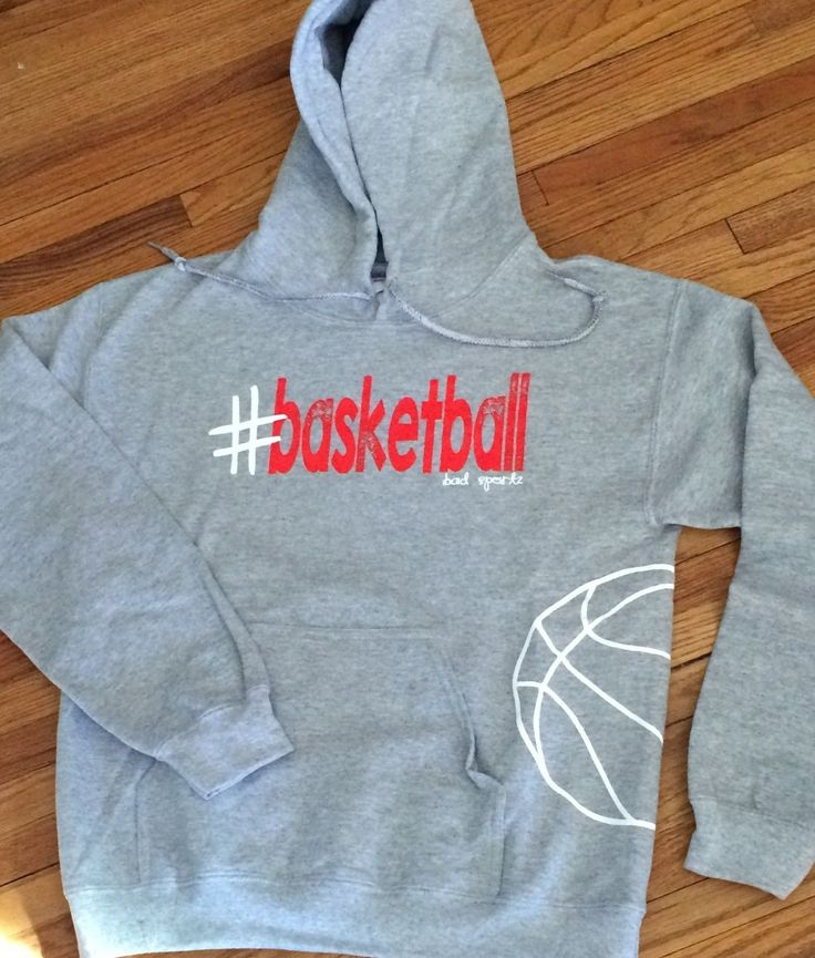 #basketball Available in black, athletic gray (pictured), and dark heather. Print is white and red
