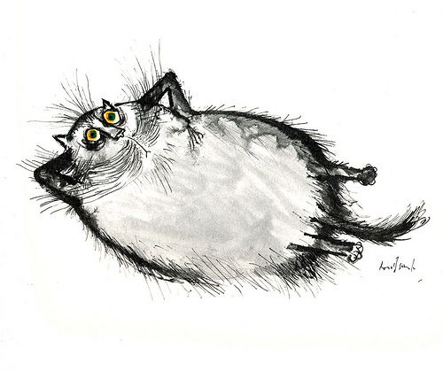 Ronald Searle's Cats, 1967 | Exhausted Persian cat contemplating monogamy