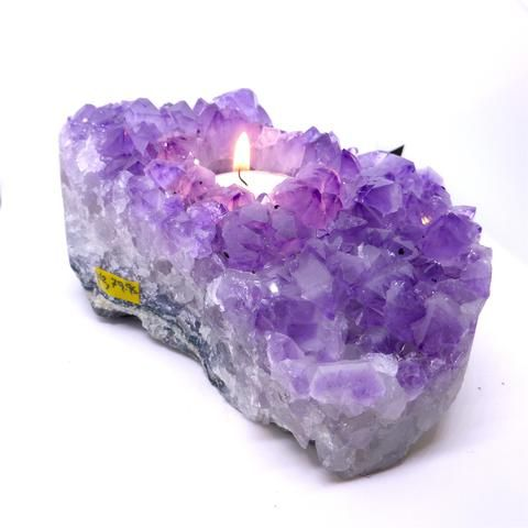 Amethyst Crystal Cluster Candle Holder | Tea light | Genuine Mineral | Aquarian Stone | Crystal Heart Melbourne Australia since 1986